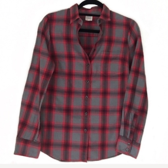 J.CREW PERFECT SHIRT BUTTON DOWN NAVY RED PLAID SIZE 00 NEW